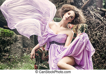 elbűvölő, woman ül, képben látható, egy, stylis