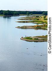 Elbe bays with mine dump