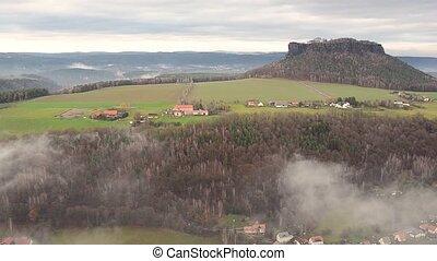 Elbe river foggy view from Konigstein castle near Dresden,...