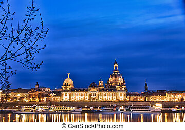 Elbe river with Church of Our Lady (Frauenkirche) after sunset, Dresden, Germany