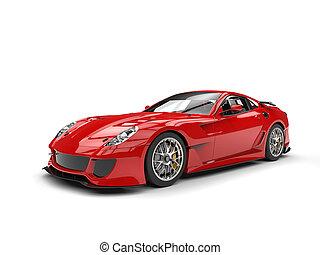 elbocsát, autó, modern, gyorsan, sport, piros