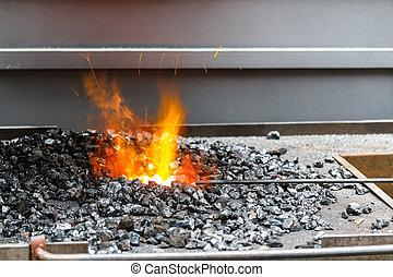 elbocsát, blacksmith's, kovácsműhely, szén