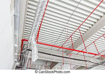 elbocsát, ceiling., rendszer, küzdelem, levegő, elhelyezett, nedvességtartalom szabályozás, hajlékony