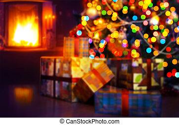 elbocsát, fa, háttér, művészet, christmas táj, tehetség