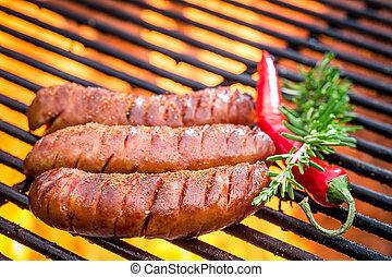 elbocsát, grill, kolbász, csípős
