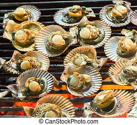 elbocsát, grillsütő, rákfélék, molluszkák, grill