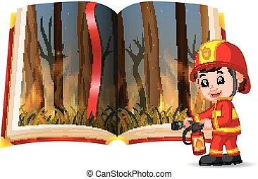 elbocsát, könyv, tűzoltó, erdő