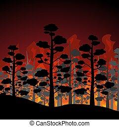 elbocsát, lakás, design., illustration., erdő