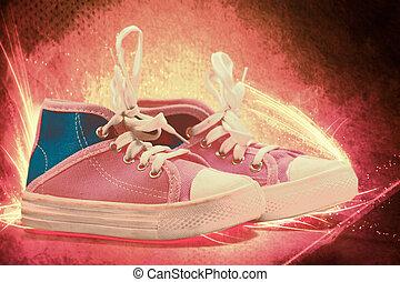 elbocsát, vászon, cipők