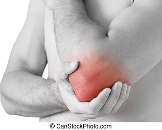 elbow ache - young man having pain in his elbow