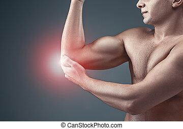 elbow., begriff, entlastung schmerzen, mann
