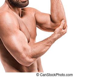 elbow., concept, soulagement douleur, homme