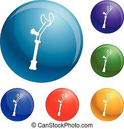 Elbow crutch icons set vector