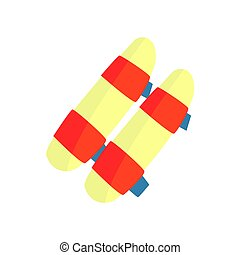 Elbow guard protector, martial arts gear. Colorful cartoon vector Illustration