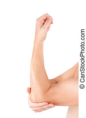 Elbow pain. - Man holding his elbow isolated on white...