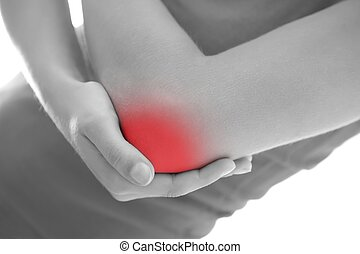 Elbow pain - Young woman having pain in her elbow