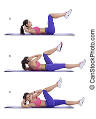 Step by step instructions for abs: Lie flat on your back and place your hands behind your head. Bend your knees and bring them up so that your thighs and hips form a 90 degree angle, calves parallel to the floor. With elbows flared lift your shoulder blades off the floor and hold the position. This ...