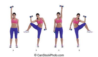 Elbow to knee with a dumbbell - Step by step instructions...
