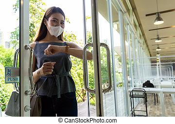 Elbow to opening door. New normal lifestyle.