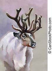 elch, in, winter, wald