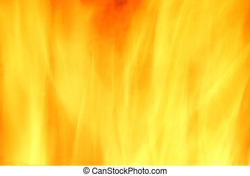 eld, abstrakt, gul fond