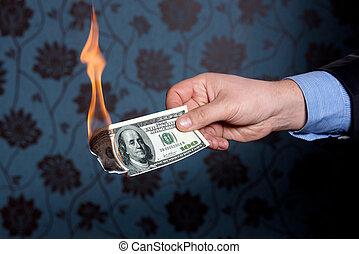 eld, dollars, hundra, bränna, en