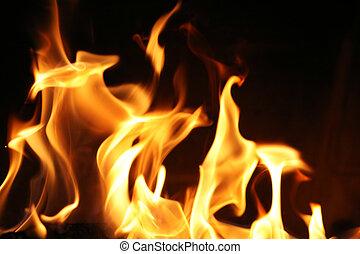 eld, flammor, bakgrund, struktur