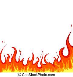 eld, -, flammor