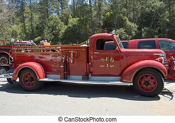 eld, gammal, 2, lastbil