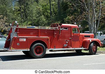 eld, gammal, 3, lastbil