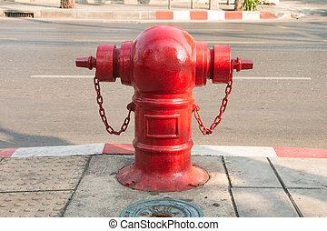eld, gata, vattenpost, röd