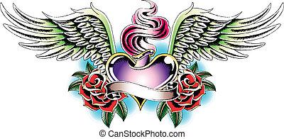 eld, hjärta, emblem