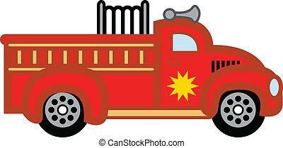 eld, leksak, engine., firetruck, barn