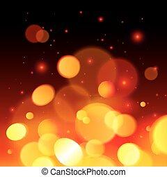 eld, lysande, abstrakt, bakgrund, bokeh, verkan