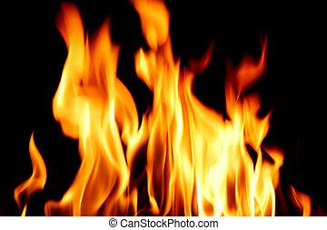 eld, nära, låga, uppe