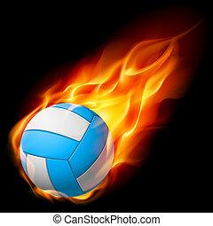 eld, realistisk, volleyboll