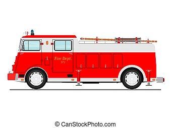 eld, truck., tecknad film, klassisk