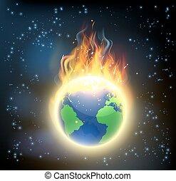 eld, värld glob, värld