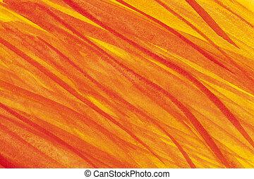 eld, vattenfärg, abstrakt, flammor