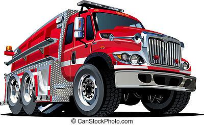 eld, vektor, lastbil, tecknad film