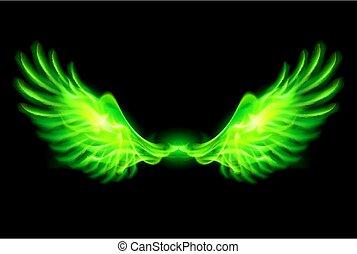 eld, wings., grön