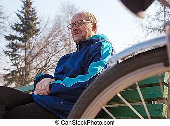 eldely, sien, vélo, séance, garez banc, ville, homme