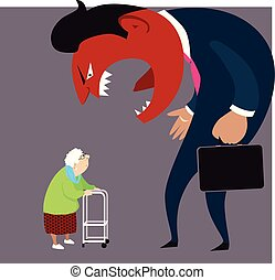 Elder abuse: a monster man yelling at an old lady, EPS 8 vector illustration