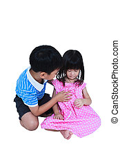 Elder brother hugging and soothing a crying his sister. Isolated on white background. Conceptual about familial love.