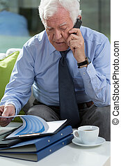 Elder businessman talking on phone