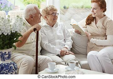 Elder couple smiling