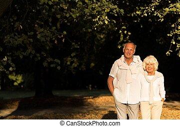 Elder couple strolling