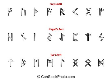 Elder futhark runes - black and white