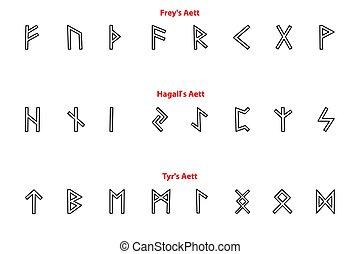 Elder futhark runes - black and white