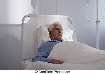Elder man in hospital